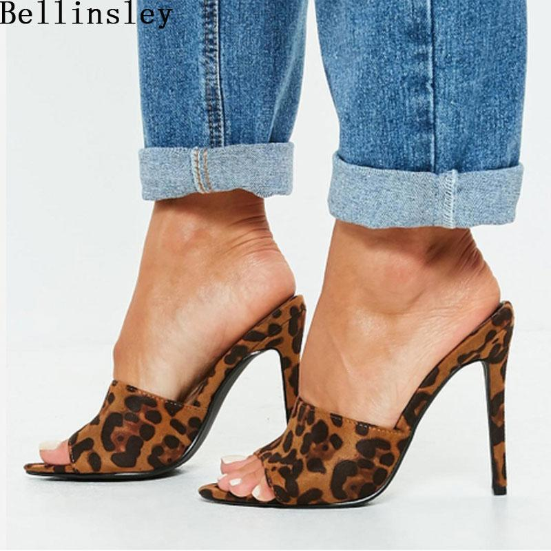 04fa8f243b8 2019 Summer Style Women Leopard High Heels Mules Pointed Toe Sexy Women  Slides Female Thin High Heels Female Outdoor Slippers
