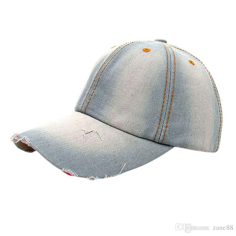 addde0a7e baseball cap new Unisex Ponytail Trucker Ponycaps Plain Denim Baseball Cap  Hip Hop Flat Hat fanshion dropship