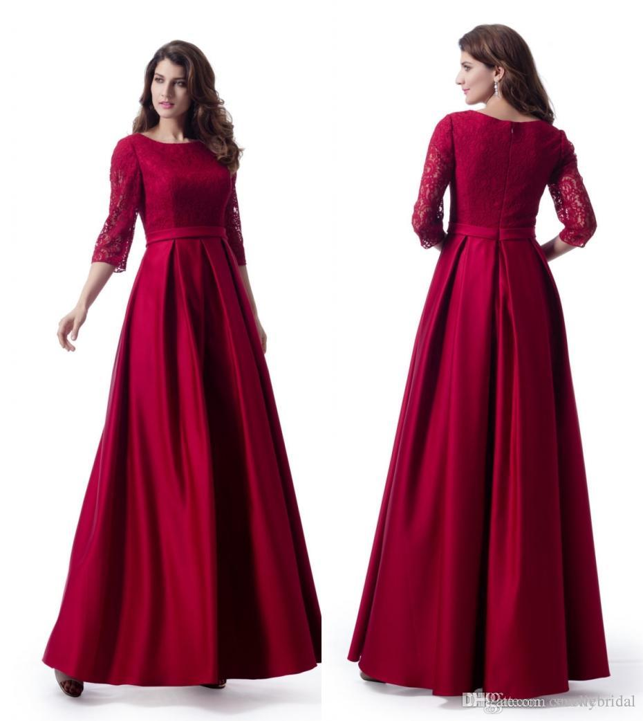 d28a568212c4 Dark Red Long 2019 Modest Prom Dresses With 3/4 Sleeves A Line Floor Length  Teens Formal Prom Party Gowns Elegant Custom Made Discounted Prom Dress  Canada ...