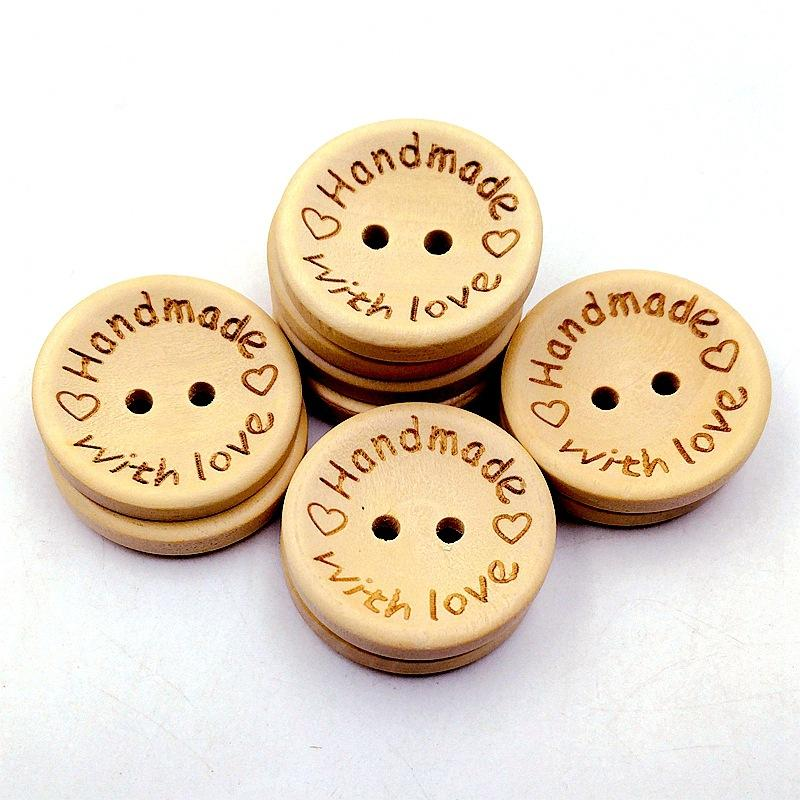 15/20/25mm 100PCS/lot Natural Color Wooden Buttons handmade love Letter wood button craft DIY baby apparel accessories
