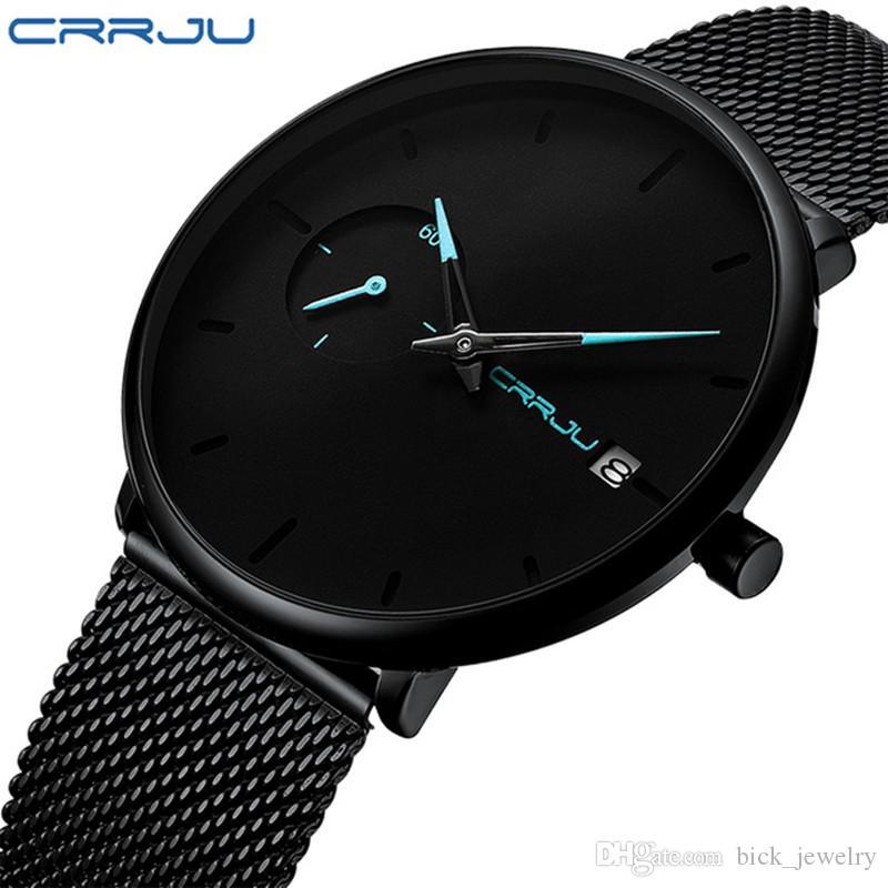 c5559578784 Compre Nova CRRJU Homens Minimalista Relógio De Quartzo Esporte De Aço  Inoxidável Malha Strap Relógios De Luxo Com Data De Exibição De  Bick jewelry