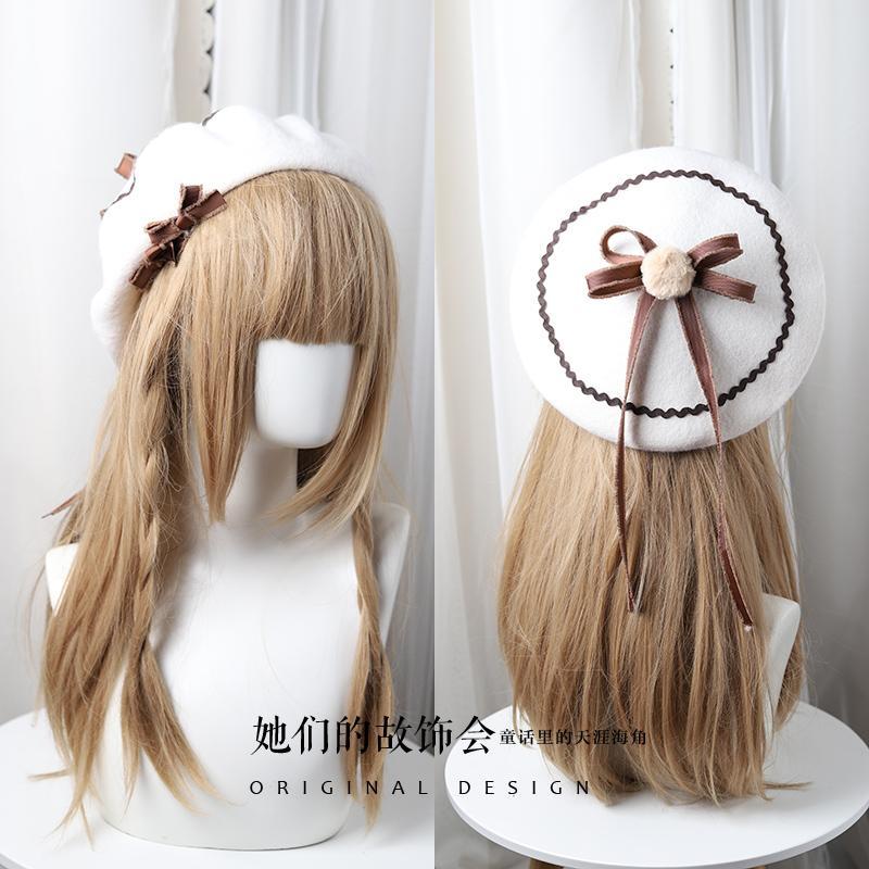 3f52e457779a2 Princess Sweet Lolita Beret Bow-tie Ribbon Wave-pattern Fairy Girl ...