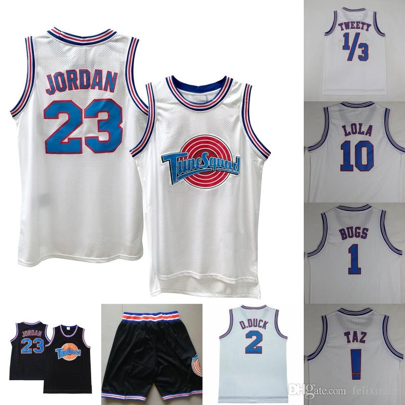 76709071c86 2019 Space Jam Jersey Shorts 23 Michael Tune Squad Looney Tunes 1 Bugs  Bunny 10 Lola Bunny 2 Daffy Duck Taz ! Tweety Bird Movie Shirts Sitiched  From ...