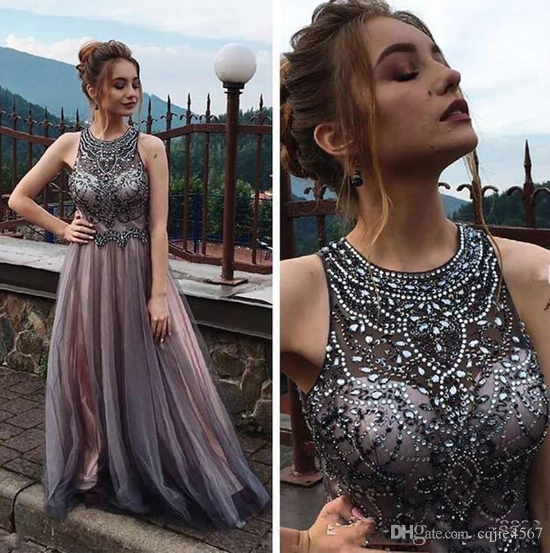 Gorgeous crystal beaded elegant evening formal dresses amazing tulle long Party prom dresses custom made Evening Wear bridal gowns 1051