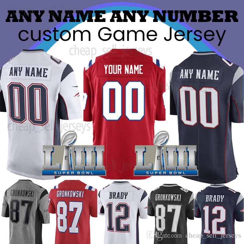 huge selection of 6d3ef 75f64 Customized 12 Tom Brady Patriots Jersey 10 Josh Gordon 87 Rob Gronkowski 11  Julian Edelman 14 Cooks 15 James Super Bowl