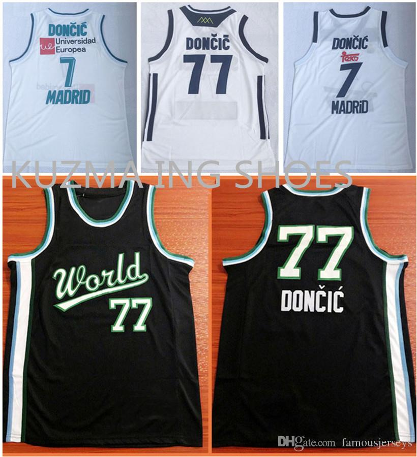 size 40 42a00 ce2a1 Slovenija basketball jerseys Luka #77 Doncic all stitched wear Europea  madrid #7 Player black world team game uniform