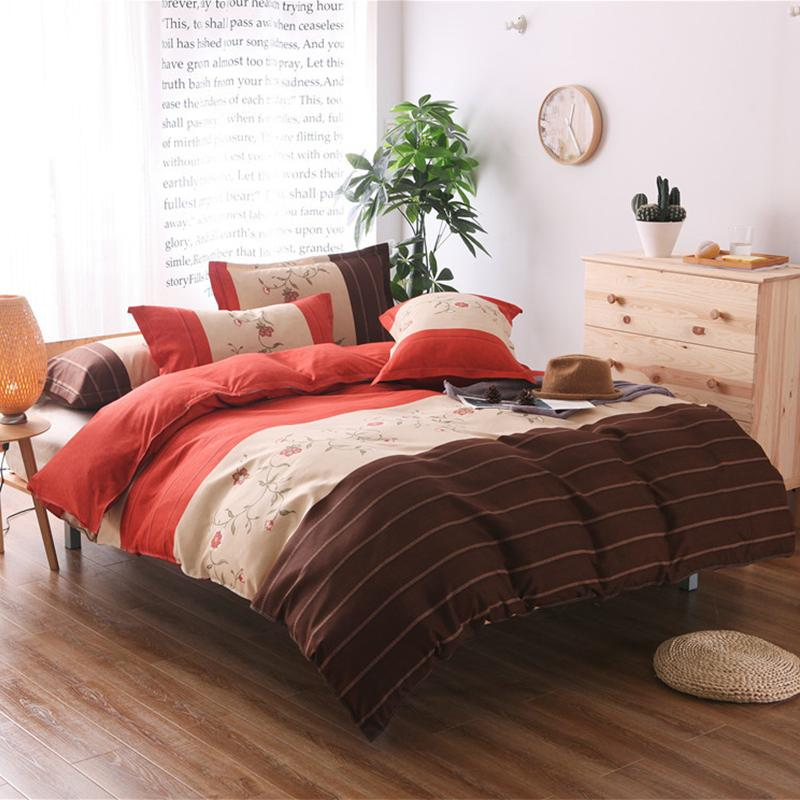 Home Textile Bed Striped Petals Duvet Cover Set Sanding Printing Craft Textiles Printed Double Pillowcase Bed 7 Size