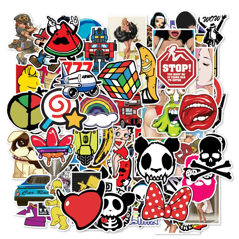 Mixed cartoon toy stickers for car styling bike motorcycle phone laptop travel luggage cool funny sticker bomb jdm decals wall sticker wall sticker art from