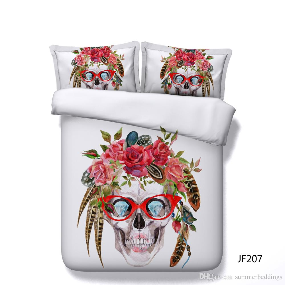 Floral Skull Duvet Cover Red Pink Peony Bouquet 3d Printed Bedding