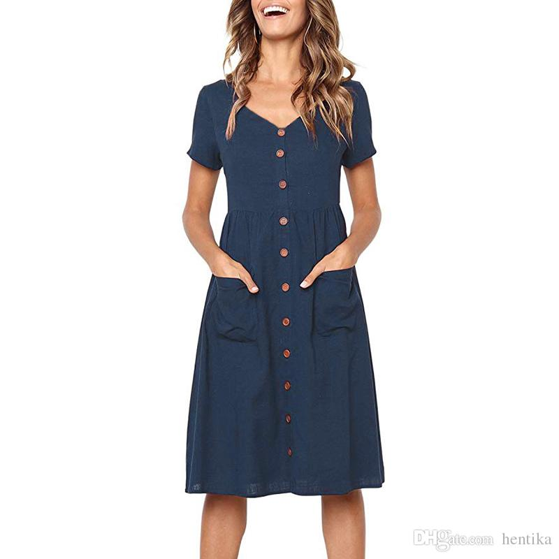 Summer Fashion Dresses V Neck Button Knee Length Casual Style Short Sleeve  Breathable S XL Women Sexy Dress With Pockets Sundresses Womens Dressing  Styles ... a09eb0ee3