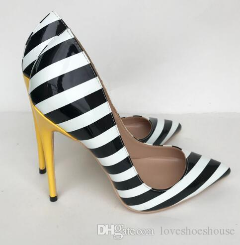 f1237a1df Charm2019 Zebra Stripes High Heel Shoes Pointed Toe Patent Leather  Patchwork 12 CM Yellow Heeled Pumps Women Pop Party Shoes Pumps Shoes  Slippers For Men ...