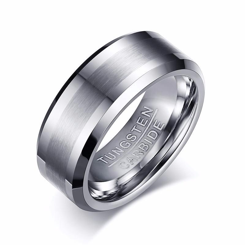 0bf4f37beeee1 8MM Classic Look Tungsten Carbide Matte Men's Ring in Silver Tone Wedding  Band Comfort fit Anel Aneis Male Jewelry