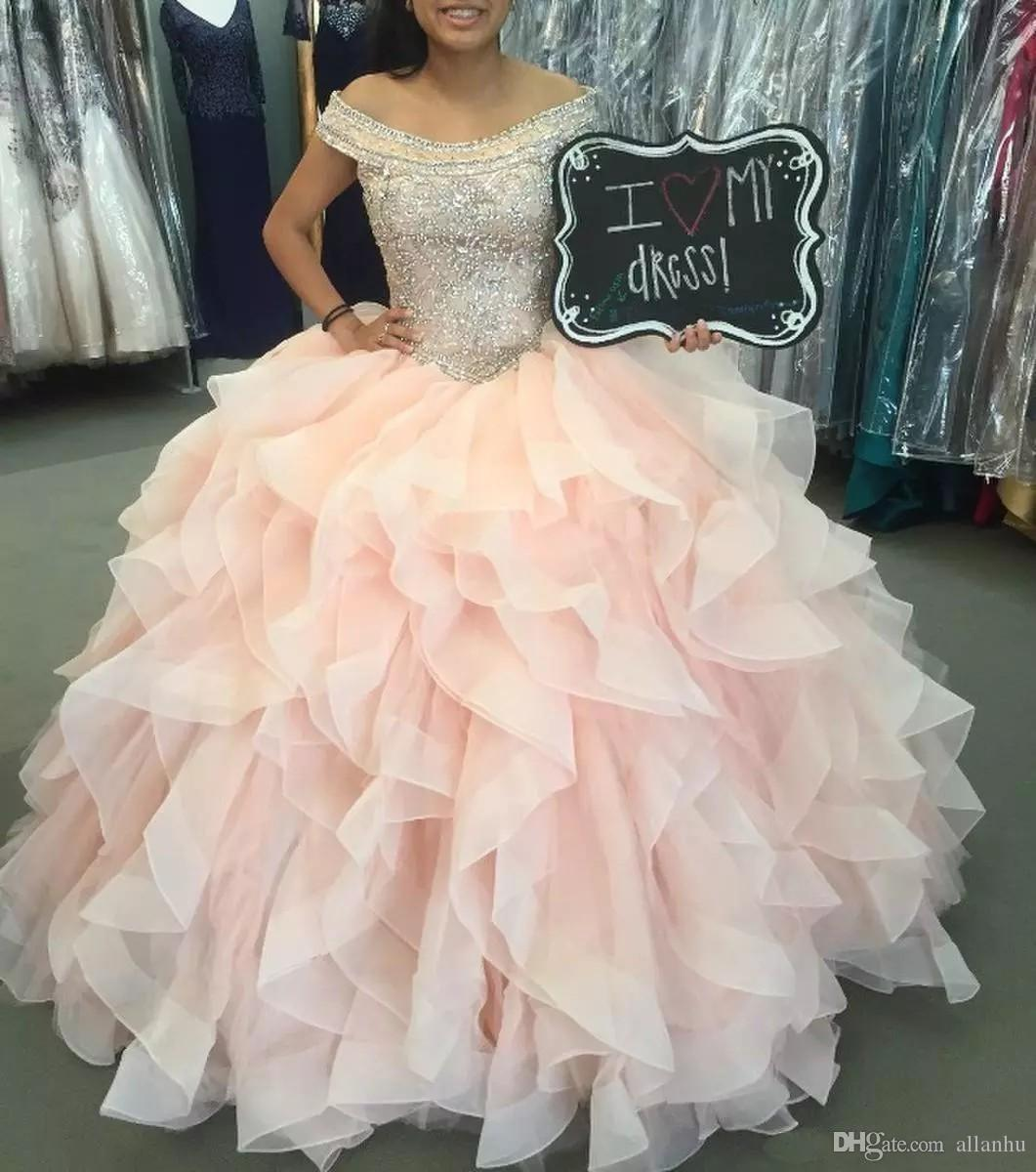 Off the Shoulder Light Pink Quinceanera Dresses Beaded Crystal Ball Gown Sweet 16 Dresses Ruffles Tulle Prom Dresses Lace Up