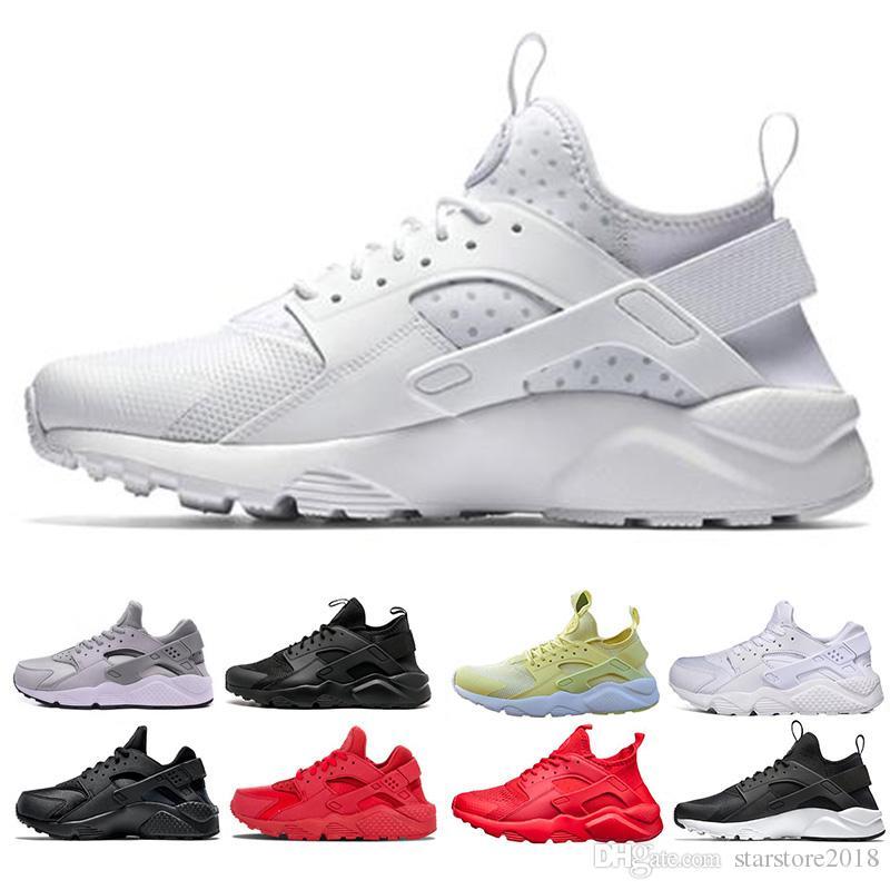 reputable site 51453 9fadf Acheter Nike Air Huarache Nouveau Huarache Ultra Run Chaussures Triple  Blanc Noir Rouge Hommes Femmes Chaussures De Course Jaune Gris Huaraches  Chaussures ...