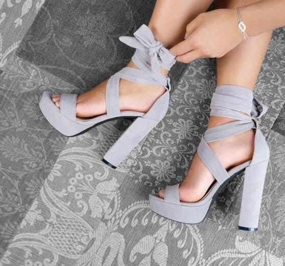e17c49ac204 Grey Block Heeled Platform Sandals Women Designer Ankle Lace Up Chunky Heeled  Sandals Women 2018 Peep Toe High Platform Shoes High Heels Shoes Green  Shoes ...