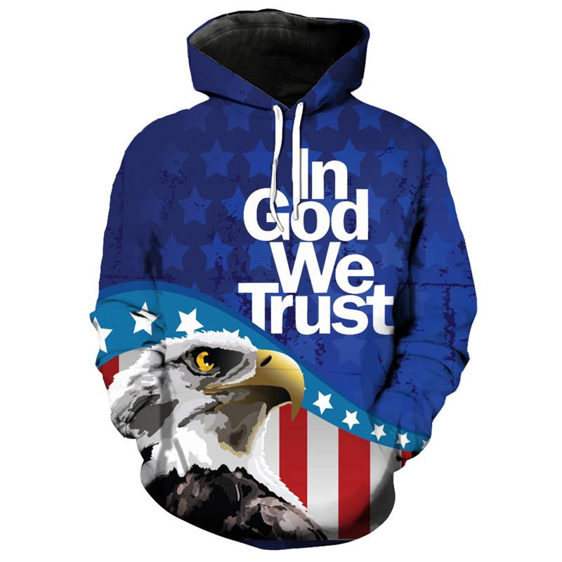 0318a80d8f60 2019 Comic Eagle American Flag Print Blue Hoodie Fashion 3D Hooded  Sweatshirt From Yoursuger, $52.12 | DHgate.Com