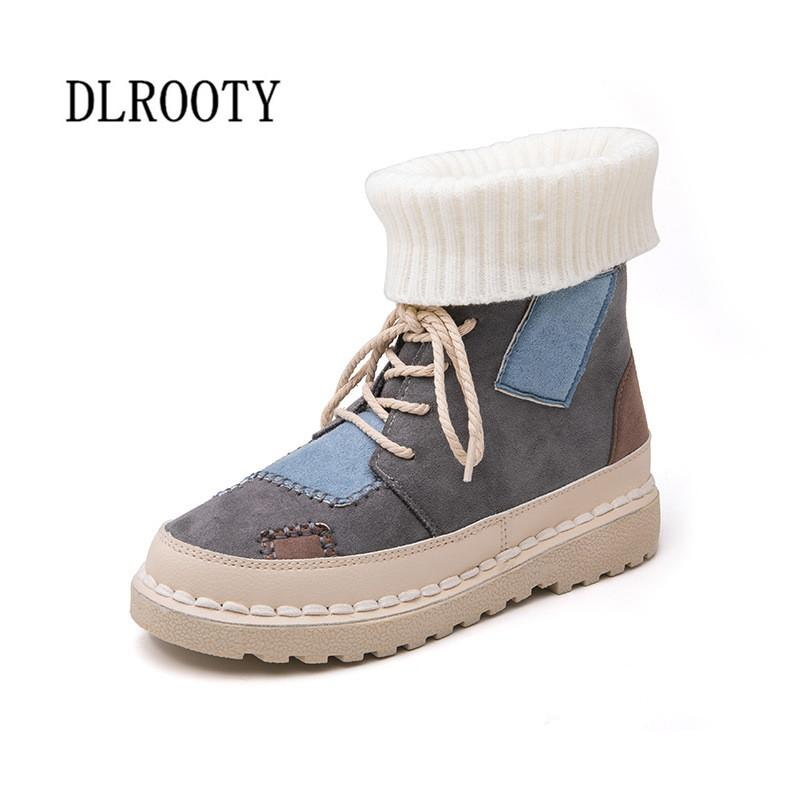d7c7f5bd56d49 Women Snow Boots Ankle 2018 Winter Warm Short Plush Female Casual Socks Shoes  Woman Flat Fashion Platform Round Toe Lace Up Boots For Men Girls Boots  From ...