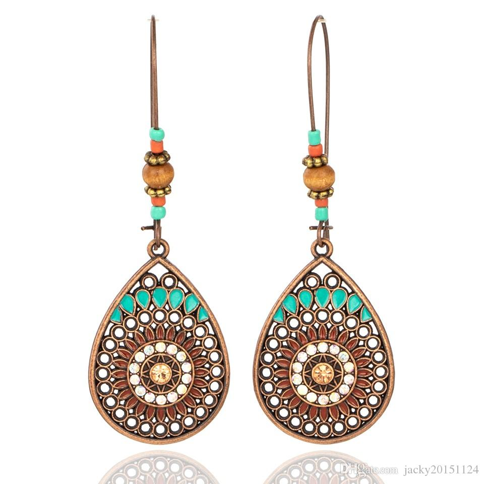 Vintage Boho India Ethnic Water Drip Hanging Dangle Drop Earrings for Women Female 2018 New Wedding Party Jewelry Accessories