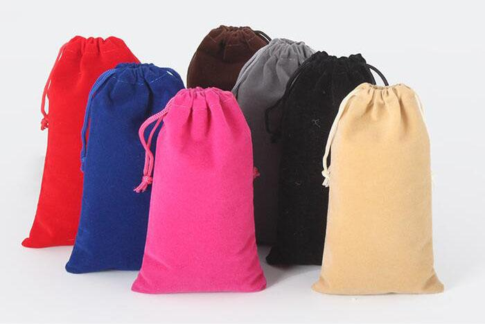 12x15cm Black/Red/Rose/Blue/Beige/Coffee/Silver Gray/Green Drawable Velvet Pouch Christmas Wedding Packaging Bags
