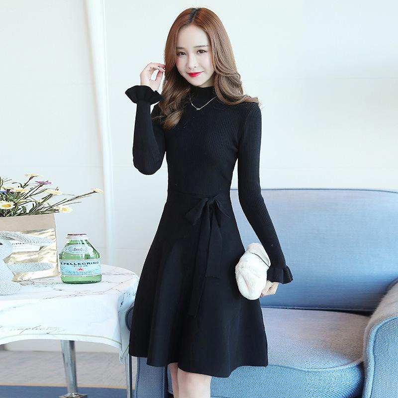 0c1f279782 Warm and Charm Slim Knitted Sweater Dress New Autumn Winter Chic Lace Sleeve  A Word Office Lady Mid-High Neck Sweater Dress