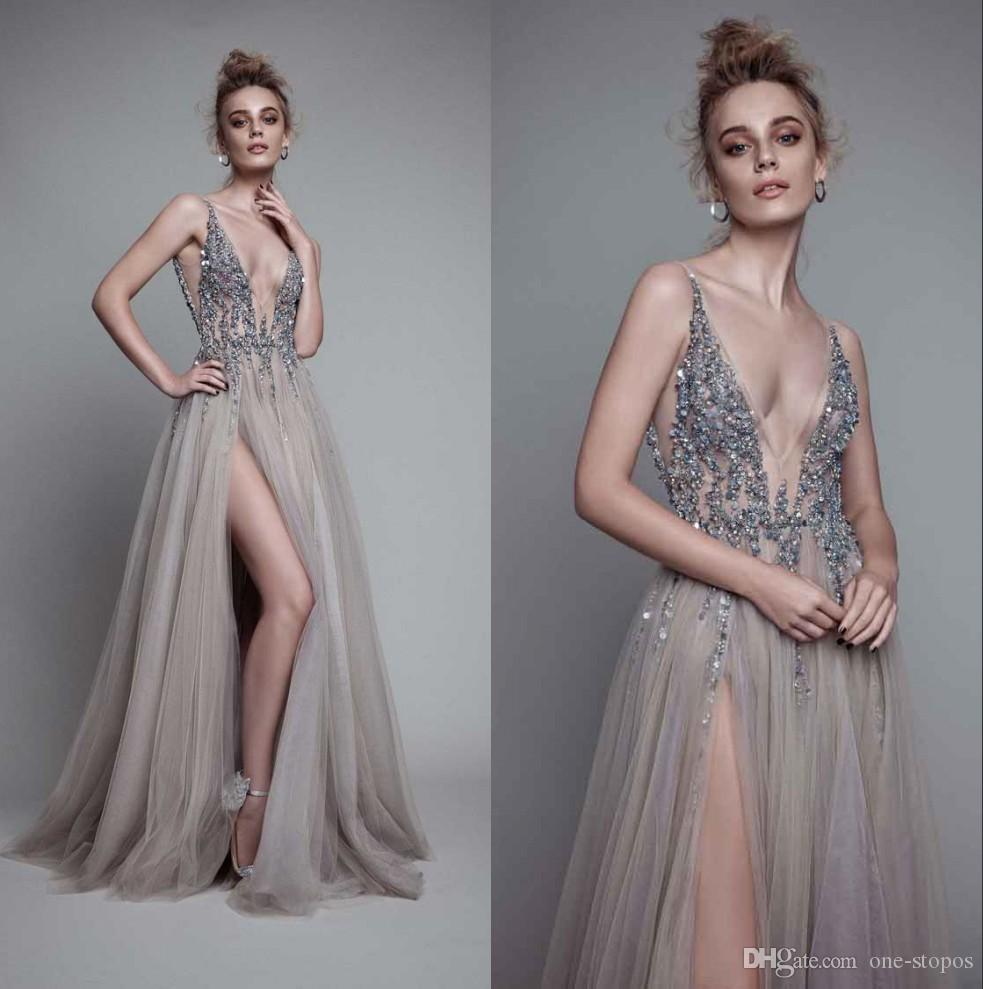 fe57697c2bb 2019 Deep V Neck Evening Dresses A Line High Slit Crystal Tulle Backless Beaded  Prom Party Gown Custom Made Prom Prom Dresses 2015 From One Stopos