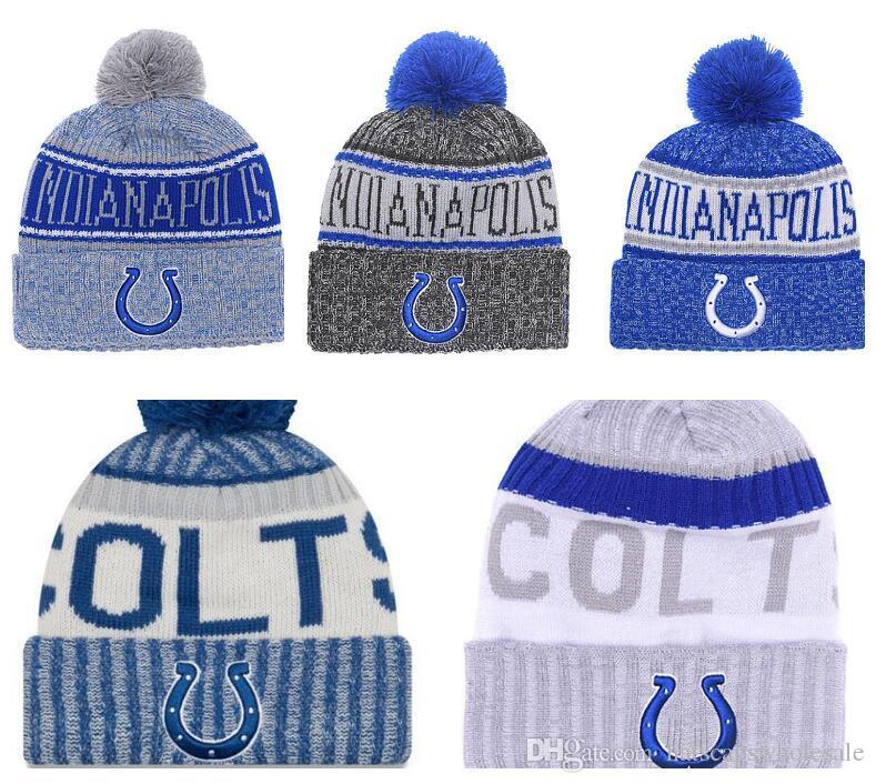 05c01d078c41f Wholesale New Pom Poms Men Women Winter Hats Sports Colts Beanies ...