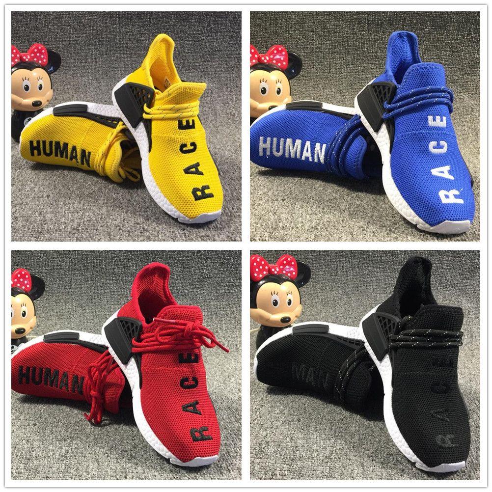 Adidas human race 2019 kinder Menschliche Rennen Runing Schuhe jungen mädchen Solar Pack Schwarz Gelb PW HU HOLI Pharrell Williams Kinder Turnschuhe