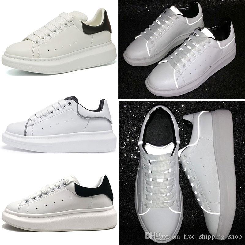 15fc34a52 Alexander McQueen Diseñador de marca de lujo 3M reflectante de cuero blanco  zapatos casuales mujer mujer hombre negro oro rojo moda cómodo zapatillas  planas ...