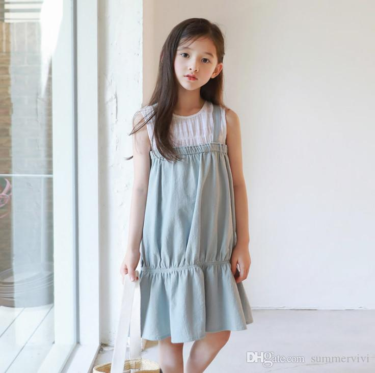 def727edf7 2019 Girls Dresses Kids Fake Two Piece Elastic Falbala Dress Children  Backless Princess Dress Mommy And Daughter Matching Outfits F7609 From  Summervivi, ...