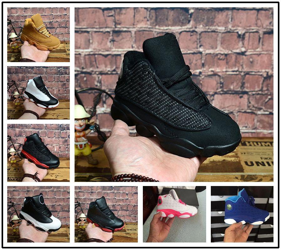 reputable site 6ffe7 4382d Großhandel Nike Air Jordan Aj13 Großer Rabatt 13 Grau Rosa Schwarz Kinder  Basketball Sportschuhe 13s Sneakers Günstige Kinder Schuhe Mode Trainer Für  Jungen ...