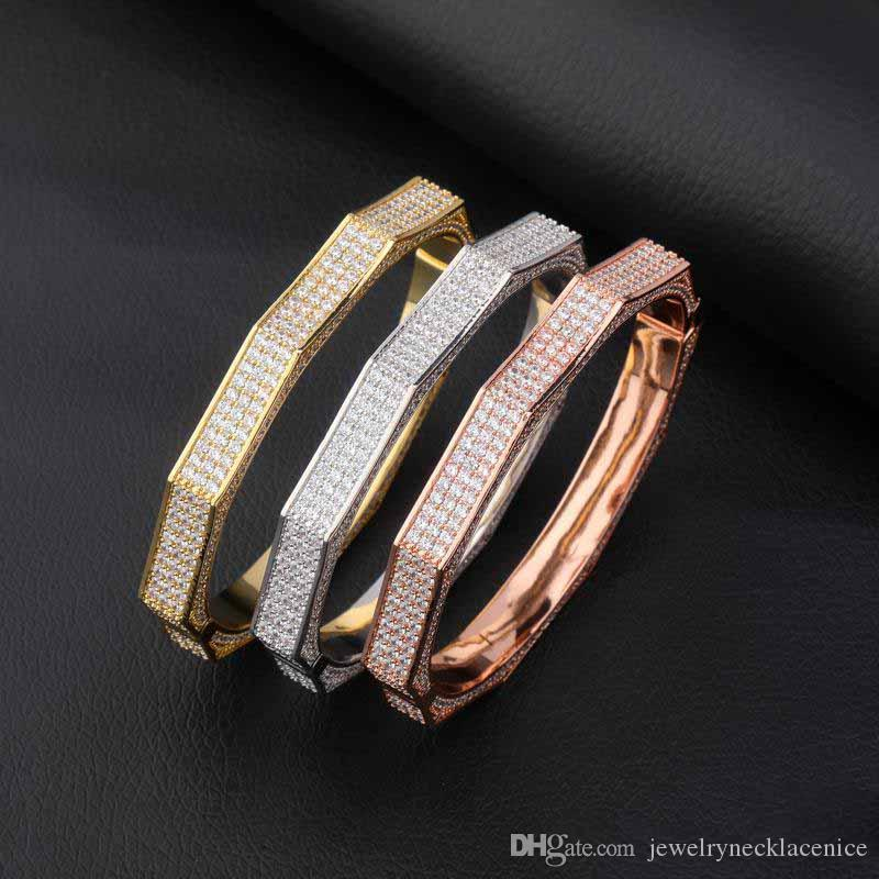 Europe and Ameica Fashion Men Bracelets for Men Gold Plated Full CZ Bangles Bracelet for Men Nice Gift