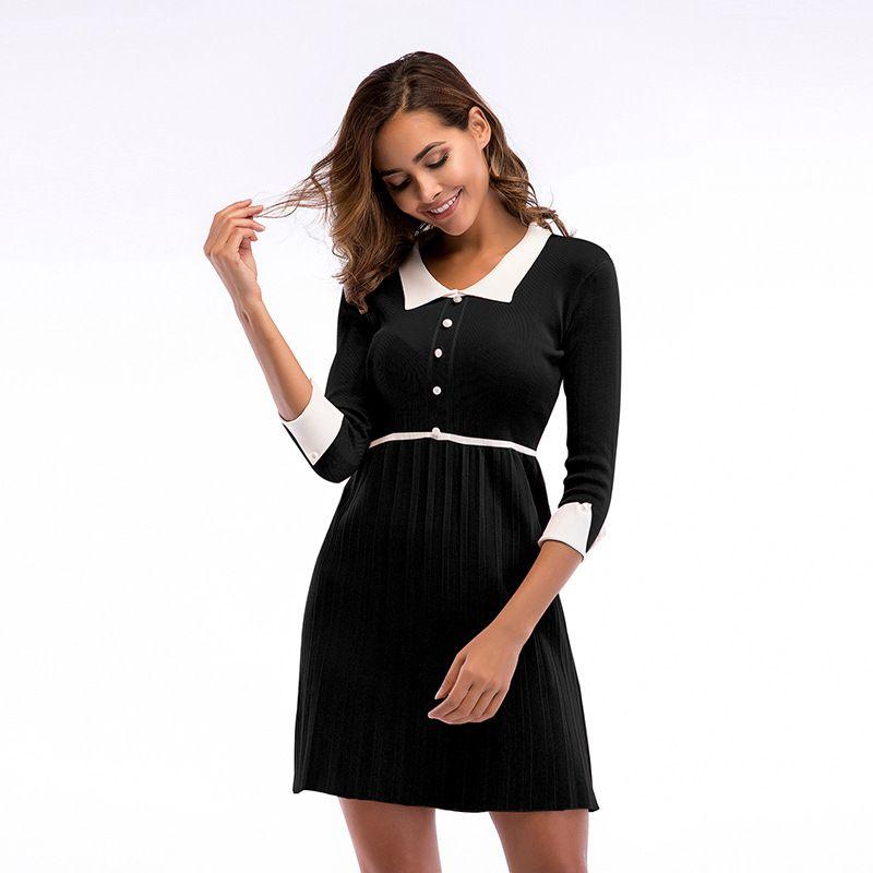 4b207d4ebb1017 Damenmode Sexy Plissee Kleid Mini Bodycon Party Clubwear Taste Revers Hals  Beiläufige Dünne Dame Kleid