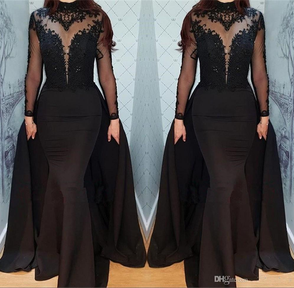3b964292c6bc 2019 Black Long Sleeves Satin Long Evening Dresses Sheer Illusion High Neck  Beaded Floor Length Prom Evening Gowns With Overskirt BC0526 Prom Dresses  For ...
