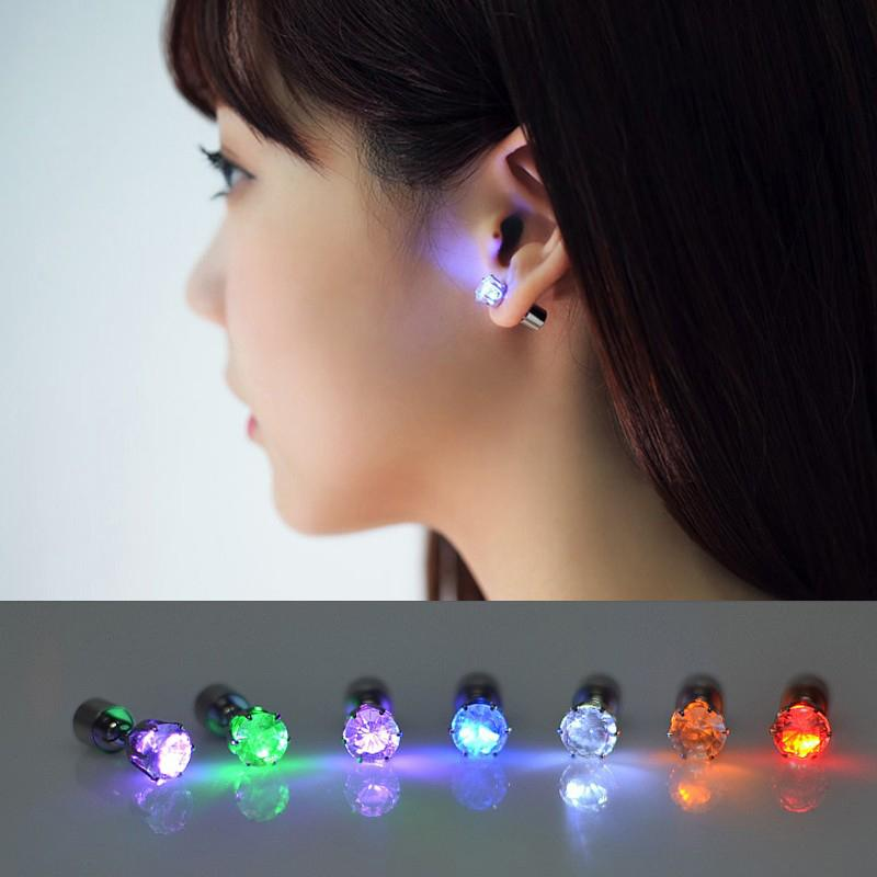 1 Pair Light Up Led Bling Earrings Ear Studs Dance Party Accessories Blinking Wholesale Free Shipping Lights & Lighting