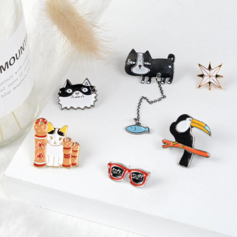Dog Cat Fish Bird Sunglass Star Enamel Pins Brooches Cute Cartoon Animal  Pin Badge Hat Backpack Coat Lapel Pin Cartoon Jewelry