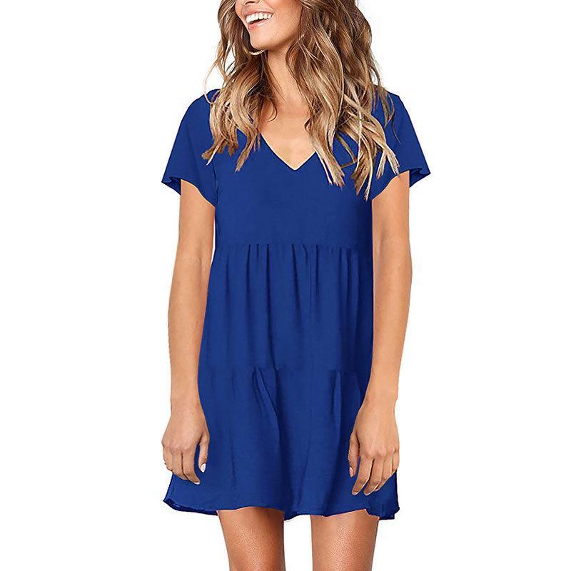 4c3e4820655ec Katı Renk V Boyun Elbise Kısa Kollu Dantelli Elbise Yaz Gevşek ...