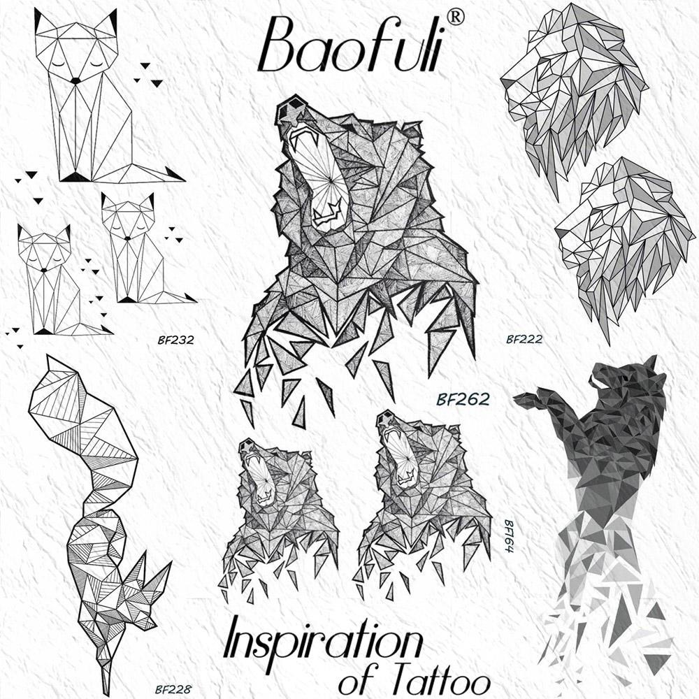 BAOFULI Geometric Diamond Howl Bear Temporary Tattoo Sticker Scrap Fox Lion Waterproof Tattoos Body Art Arm Fake Tatoo Men Women