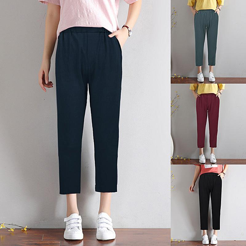 b0337269a21 2019 2019 Chic Leisure Cotton Linen Pants Women Elastic Waist Pockets Loose  Pants Plus Size 4XL 5XL Casual Trousers Wide Leg Pants From Jamie17