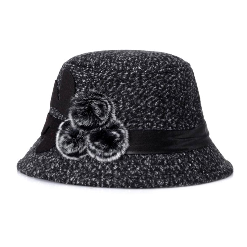 Women Dome Fedora Formal Hat Winter Warm Hat With Fur Ball Middle ... 7669a1156748