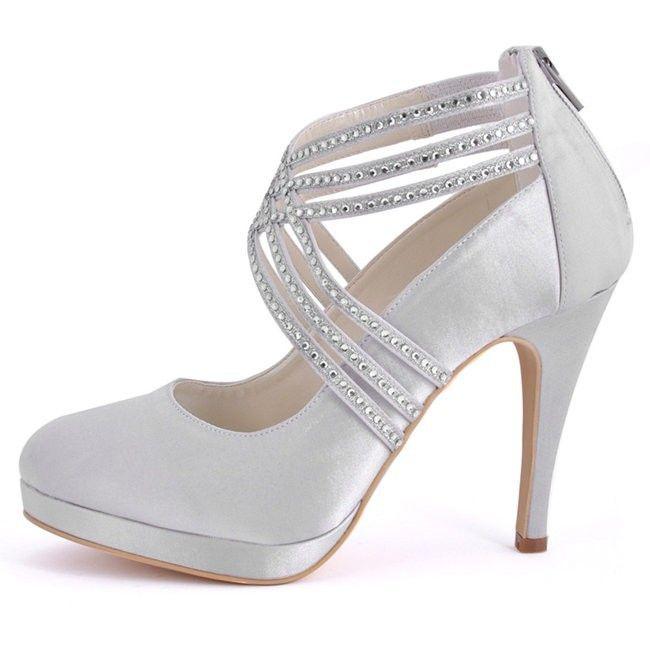 Woman Shoes High Heel Platform Pumps Ivory Wedding Bridal Shoes Rhinestone  Zip Cross Strap Satin Bride Bridesmaid Ladies Size 11 Vegan Shoes Cheap  Heels ... 81cfe9fd0591