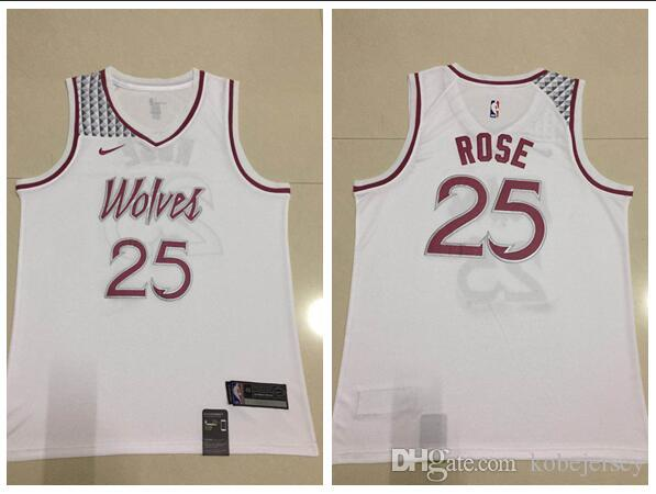 f7fb4ead200 2019 Men S Minnesota Derrick Timberwolves 25 Rose White 2018 19 Swingman  Jersey Earned Edition From Sellercb