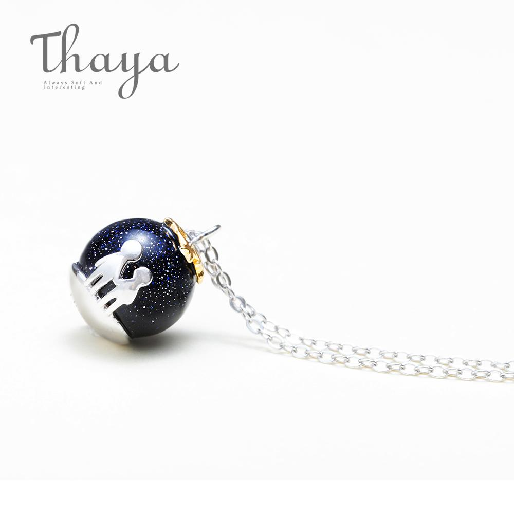 Thaya Party Blue Gravel Gem Stone Pendant Necklace S925 Sterling Silver Children Childhood Necklace For Women Chic Unique Gift J190611