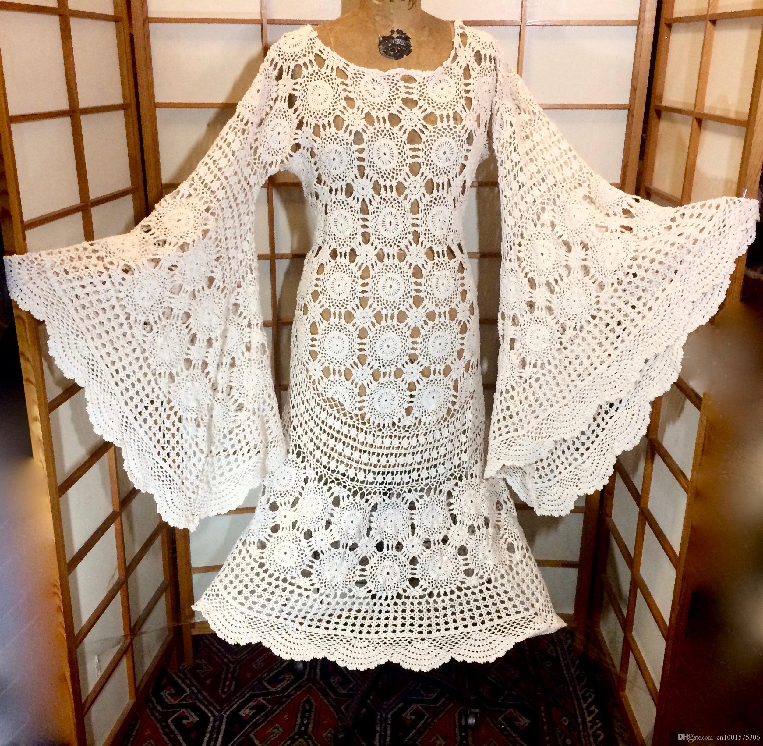 0c198bcfe1 2019 70s Angel Wing Crocheted Dress Renaissance Festival 1970s Massive Bell  Sleeves