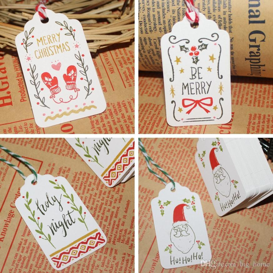 Merry Christmas DIY Paper Tags Creative Collection Card Mini String Wish Cards Fit Gifts Wrap Decoration Party Favor LJJ_TA1743