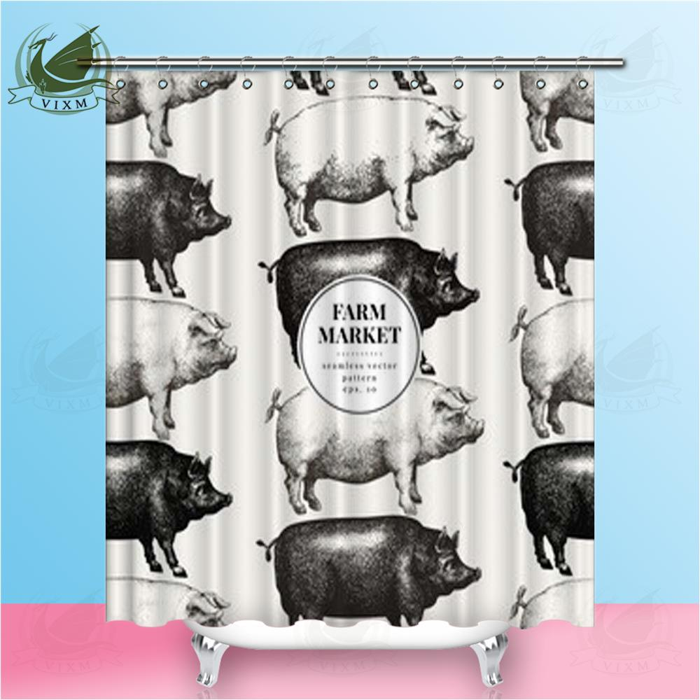 2019 Vixm Pig Silhouette Hand Drawn Illustration Vintage Farm Animal Shower Curtains Polyester Fabric For Home Decor From Bestory 1665