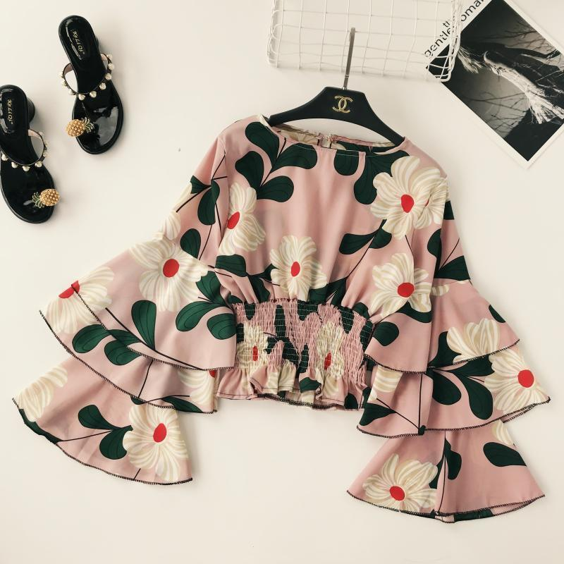Women Long Flare Sleeve Tops Lady Round Collar Ruffle Elastic Waist Short Crop Tops Lady Holiday Print Shirts Blouse C647 J190610