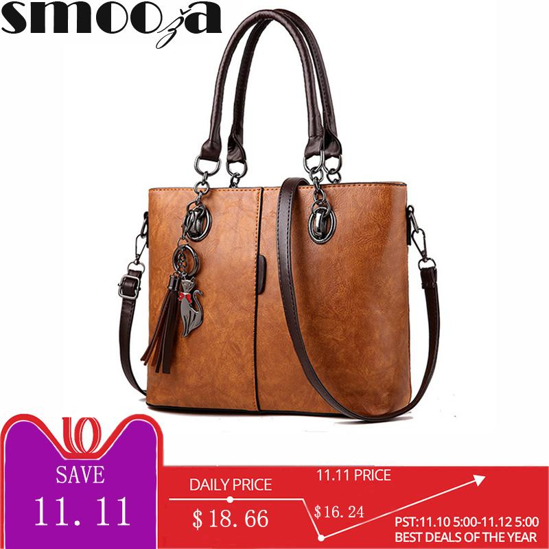 e892ef01e982 2019 Fashion SMOOZA Luxury Handbags Women Bag Designer 2018 Big Ladies Hand  Bag For Women Solid Shoulder Bag Outlet Europe Leather Handbag Cheap  Handbags ...