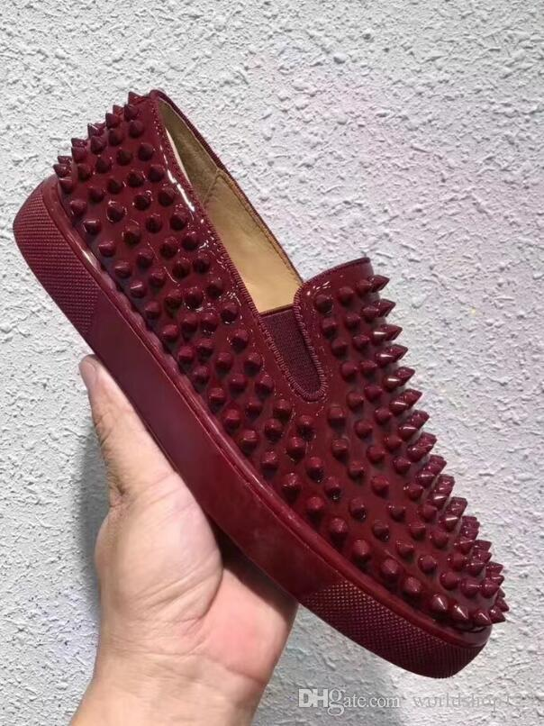 0441ab8e491 LowTop Casual Red Bottom Shoes Suede Red Spike Roller Boats Shoes Men S  Flat Women Party Designer Lovers Rivet Sneakers Geox Shoes Dress Shoes For  Men From ...