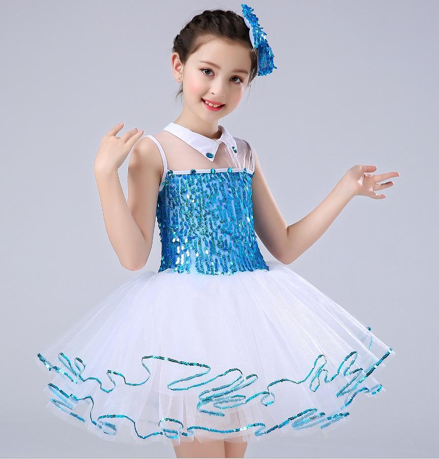 Bleu Fille Enfants Performance À Princesse Pengpeng Jupe Danse Songyuexia Paillettes Maternelle Robe 6fyYbg7