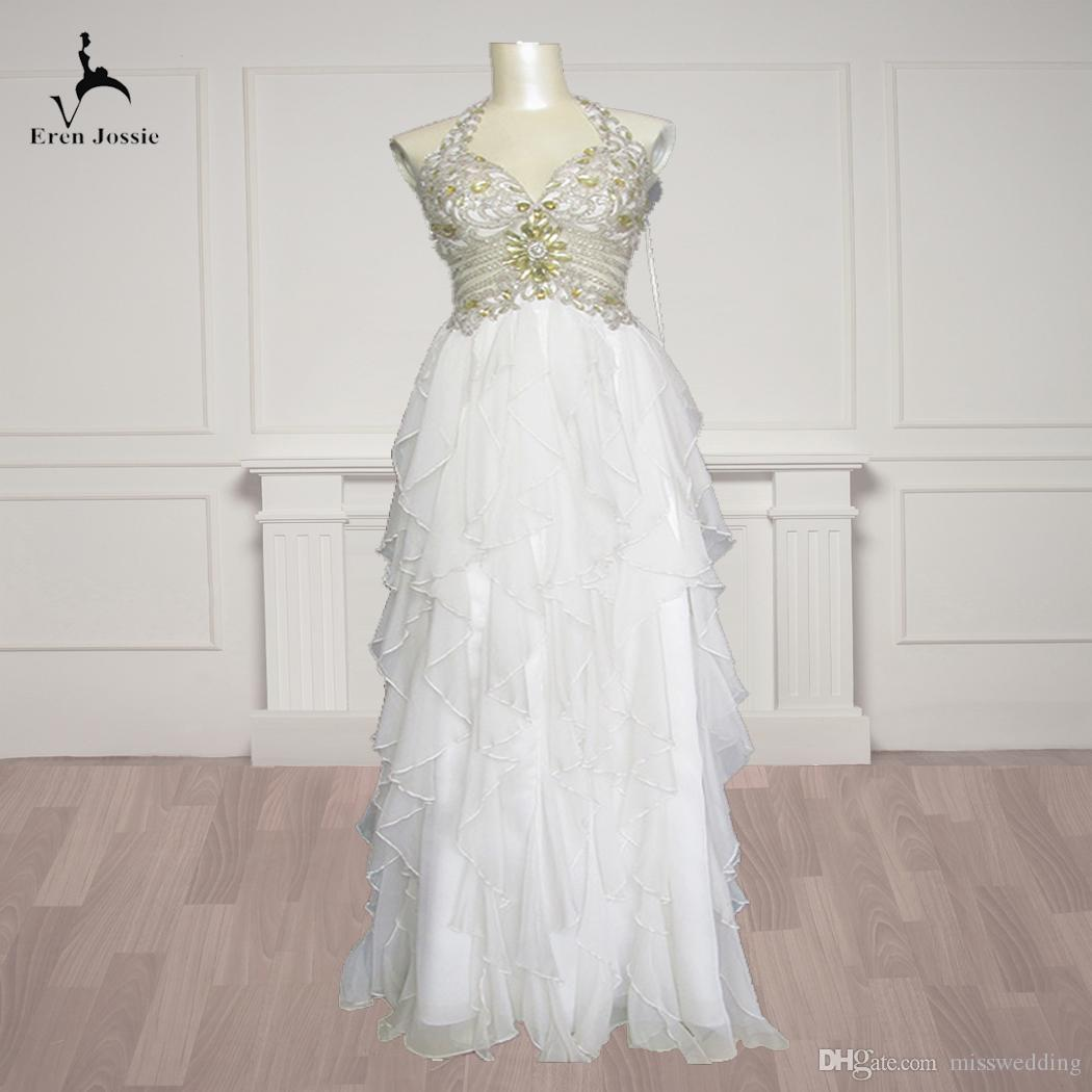 1958e791 Eren Jossie 2019 Fashion Beaded Custom Made Halter Ivory Organza Wedding  Dress Corset Back Brand Factory Directly Selling Tulle Ball Gown Wedding  Dress ...